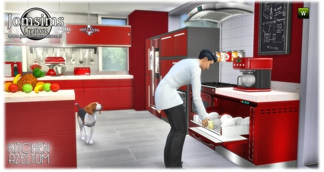 Sims 4 Azeltum modern kitchen in 4 colors at Jomsims Creations