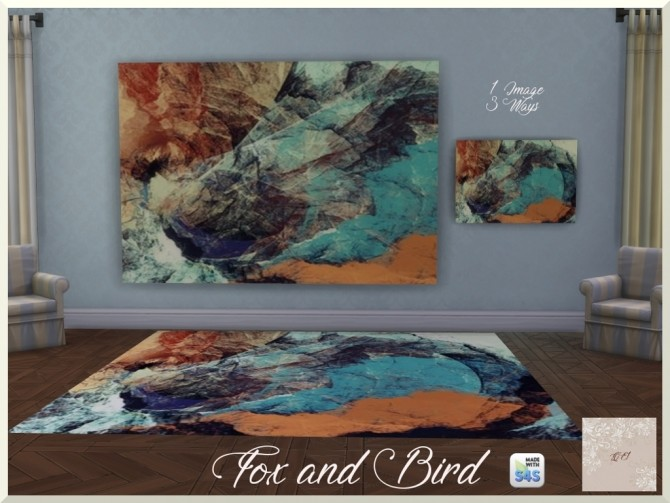 Fox and Bird paintings and rug by augold44 at Mod The Sims image 1703 670x503 Sims 4 Updates