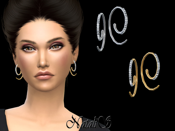 Loop earrings with crystals by NataliS at TSR image 1717 Sims 4 Updates