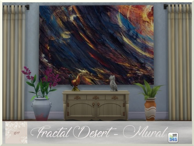 Sims 4 Fractal Desert paintings and rug by augold44 at Mod The Sims