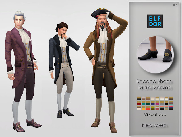 Rococo Shoes For Men at Elfdor Sims image 1783 Sims 4 Updates