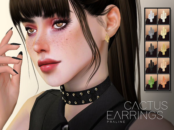 Sims 4 Cactus Earrings by Pralinesims at TSR