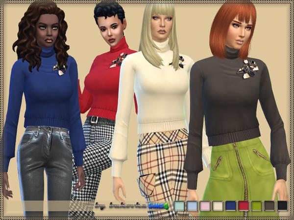 Sims 4 Short turtleneck sweater F by bukovka at TSR