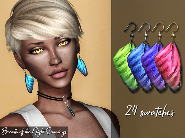 Breath of the Night Earrings by Genius666 at TSR image 1826 Sims 4 Updates