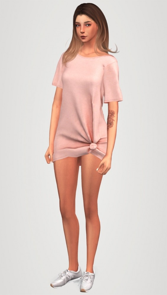 Sims 4 Tied up dress & sneakers at Elliesimple