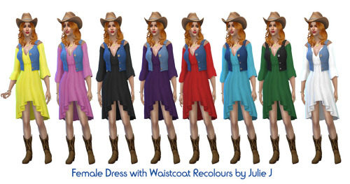 Female Dress with Waistcoat Recolours at Julietoon – Julie J image 1894 Sims 4 Updates