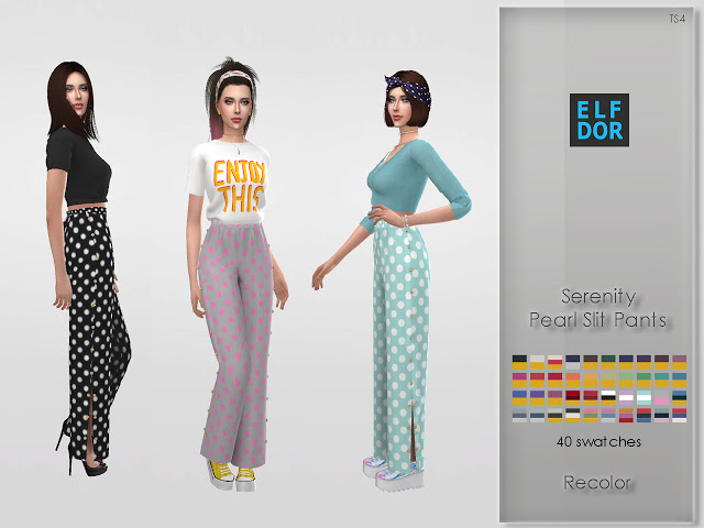 Serenity Pearl Slit Pants Recolor at Elfdor Sims image 1902 Sims 4 Updates