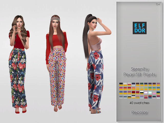 Serenity Pearl Slit Pants Recolor at Elfdor Sims image 1914 Sims 4 Updates