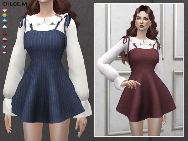 Sims 4 Dress with blouse by ChloeMMM at TSR