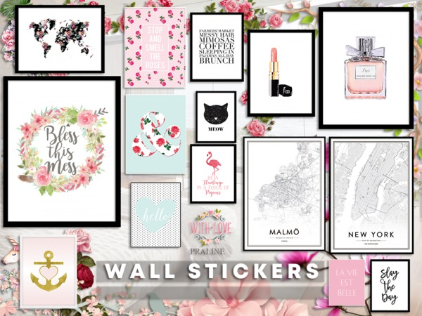 Wall Stickers By Pralinesims At Tsr 187 Sims 4 Updates