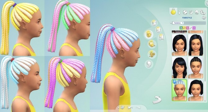 Sims 4 Multicolored Braided Ponytail by EmilitaRabbit at Mod The Sims
