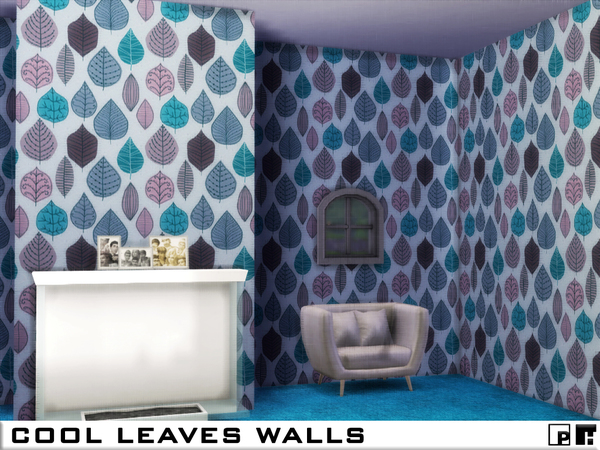 Sims 4 Cool Leaves Walls by Pinkfizzzzz at TSR