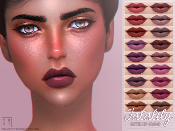 Sims 4 Fatality Matte Lip Colour by Screaming Mustard at TSR