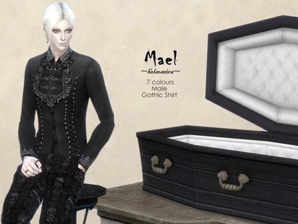MAEL Gothic Shirt Male by Helsoseira at TSR image 2214 Sims 4 Updates