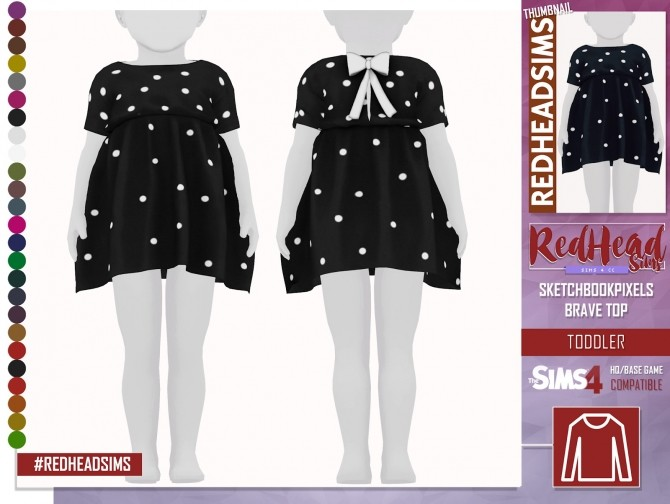 Sims 4 SKETCHBOOKPIXELS BRAVE TOP at REDHEADSIMS