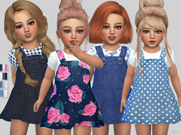 Sims 4 Denim Toddler Dress Collection by Pinkzombiecupcakes at TSR