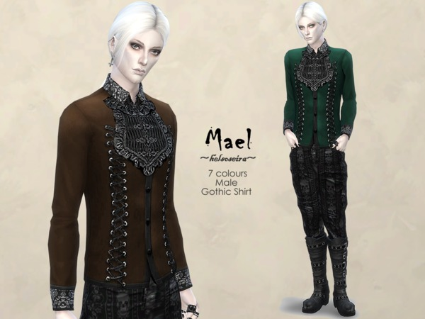 MAEL Gothic Shirt Male by Helsoseira at TSR image 2316 Sims 4 Updates