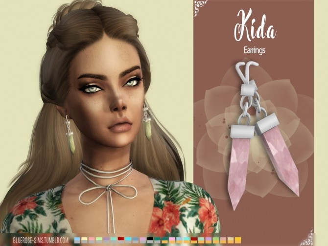 Sims 4 Kida earrings and necklace at BlueRose Sims