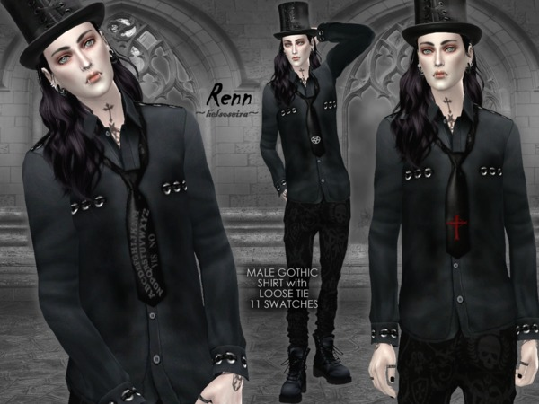 21df570f14a1 RENN Gothic Shirt with Loose Tie MALE by Helsoseira at TSR » Sims 4 ...