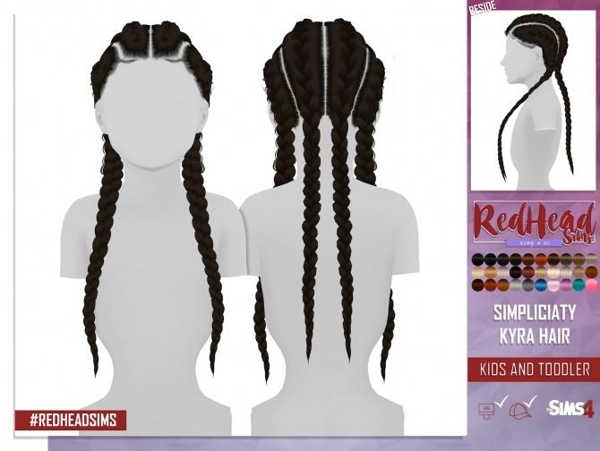 Sims 4 SIMPLICIATY KYRA HAIR KIDS AND TODDLER VERSION at REDHEADSIMS