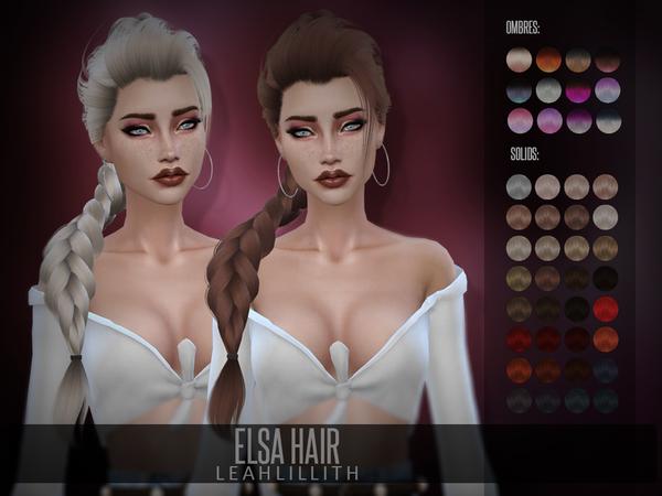 Sims 4 Elsa Hair by Leah Lillith at TSR