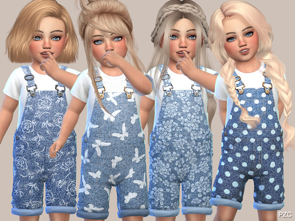 Denim Floral Overalls For Toddler Girls by Pinkzombiecupcakes at TSR image 2525 Sims 4 Updates