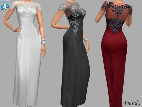 Gina silky long formal gown by dgandy at TSR image 2617 Sims 4 Updates