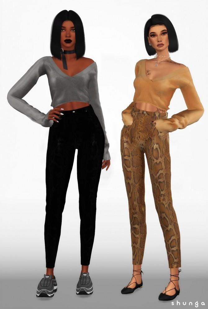 Sims 4 Vinyl Pants, Graphic Tees & Off Shoulder Sweater at Shunga