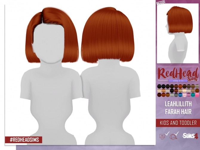 LEAH LILLITH FARAH HAIR KIDS AND TODDLER VERSION at REDHEADSIMS – Coupure Electrique image 268 670x504 Sims 4 Updates