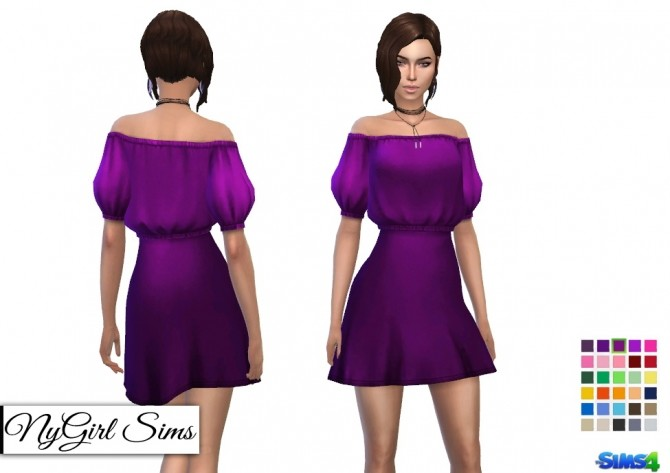Off Shoulder Puff Sleeve Dress at NyGirl Sims image 2701 670x473 Sims 4 Updates