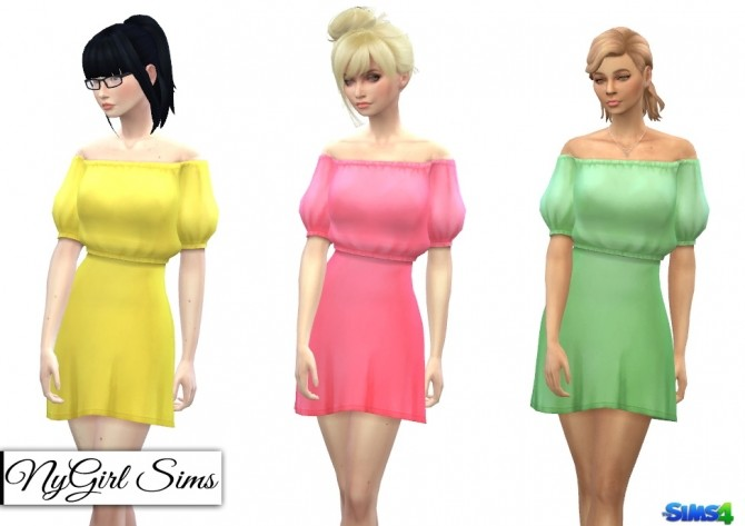Off Shoulder Puff Sleeve Dress at NyGirl Sims image 2713 670x473 Sims 4 Updates