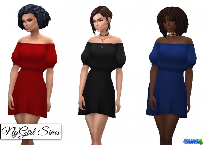 Off Shoulder Puff Sleeve Dress at NyGirl Sims image 2721 670x473 Sims 4 Updates
