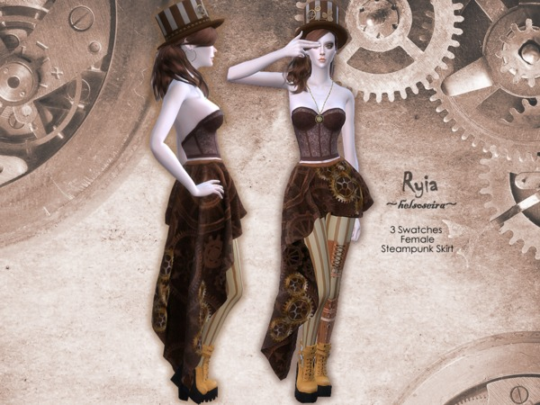 Sims 4 RYIA Steampunk Skirt FM by Helsoseira at TSR