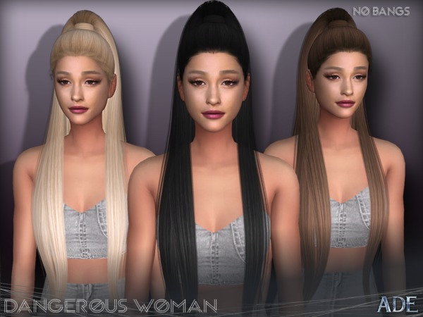 Sims 4 Dangerous Woman hair without bangs by Ade Darma at TSR