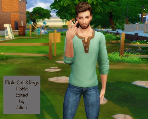 Sims 4 Male Cats&Dogs T Shirt Edited at Julietoon – Julie J