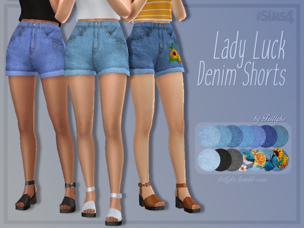 Sims 4 Lady Luck Denim Shorts by Trillyke at TSR