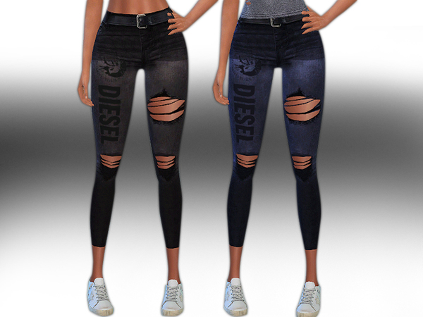 Diesel Ripped Jeans with Belt by Saliwa at TSR image 3317 Sims 4 Updates