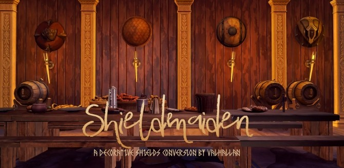 Sims 4 Shieldmaiden decorative shields conversion at Valhallan