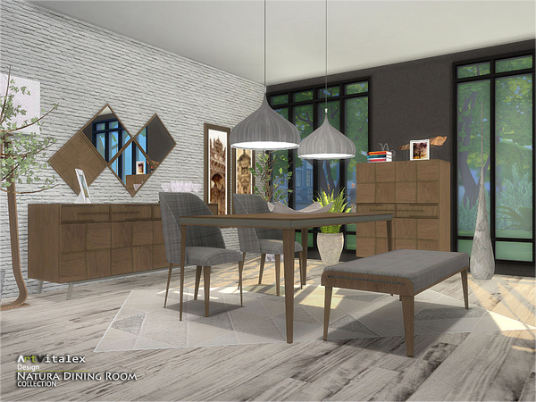 Natura Dining Room by ArtVitalex at TSR image 3510 Sims 4 Updates