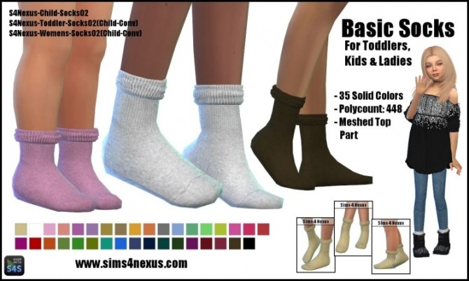 Sims 4 Basic Socks by SamanthaGump at Sims 4 Nexus