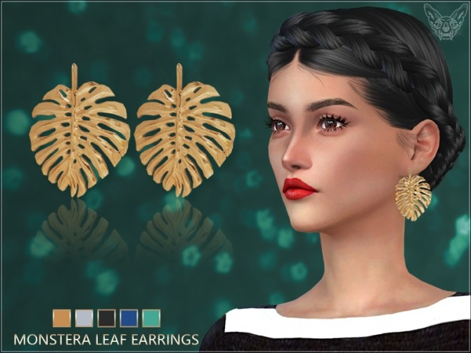 Sims 4 Monstera Leaf Earrings at Giulietta