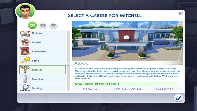 Medical career 4 tracks by KPC0528 at Mod The Sims » Sims 4 Updates