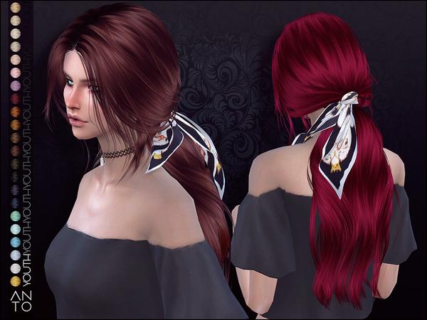 Sims 4 Youth long wavy ponytail hair by Anto at TSR