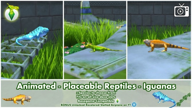 Animated Placeable Reptiles Iguanas by Bakie at Mod The Sims image 395 670x377 Sims 4 Updates