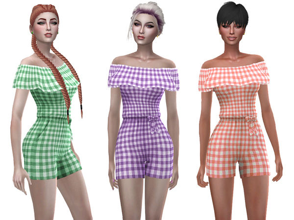 Sims 4 Plaid romper by Simalicious at TSR