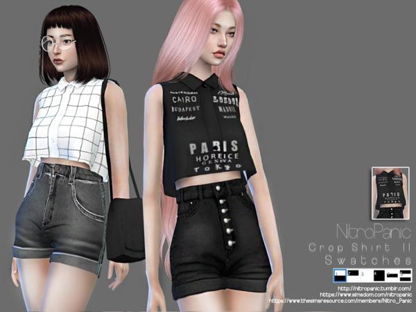 Sims 4 Crop Shirt II by NitroPanic at TSR
