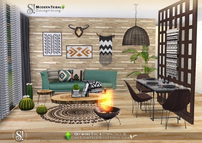Sims 4 Modern Tribal Dining at SIMcredible! Designs 4