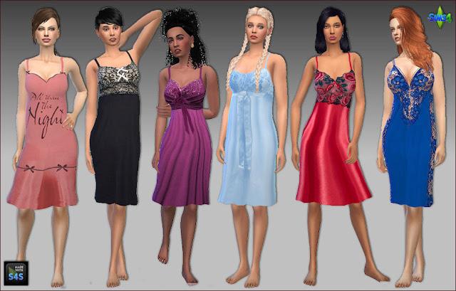 Sims 4 6 Nightgowns by Mabra at Arte Della Vita