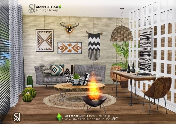 Modern Tribal Dining at SIMcredible! Designs 4 image 5115 670x474 Sims 4 Updates