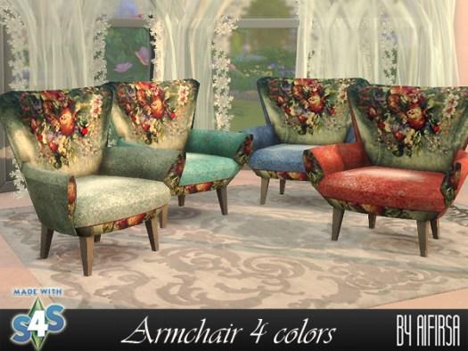 Sims 4 Armchair 4 colors at Aifirsa